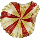 Murano Red White Copper Aventurine Gold Flecks Italian Art Glass Bowl