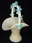 Murano BARBINI 50s Opal White GOLD FLECKS Basket Vase