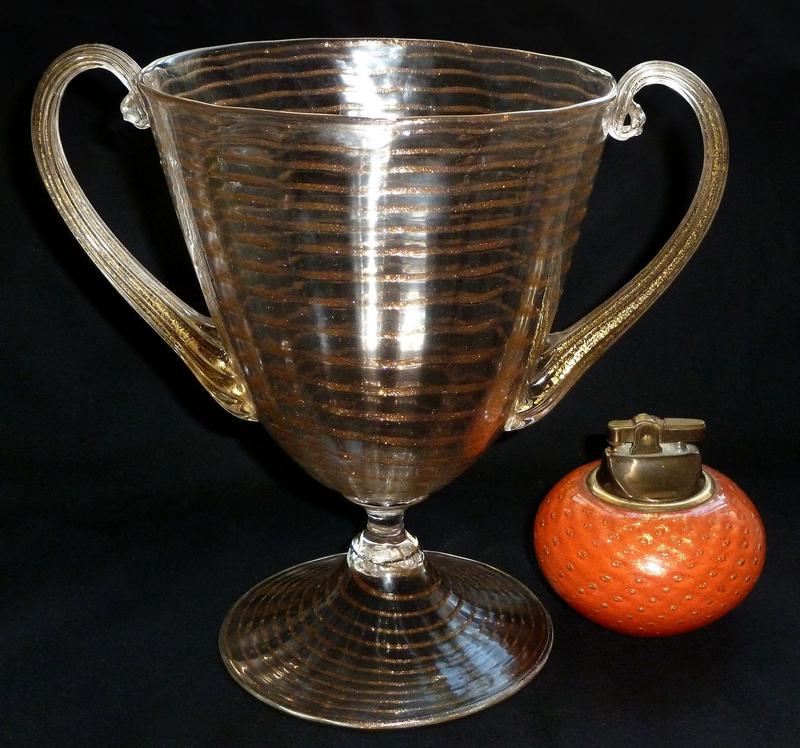 RARE Murano ERCOLE BAROVIER 1920s Aventurine GOLD Vase