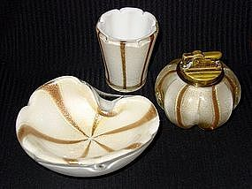 ALFREDO BARBINI Murano GOLD FLECKS 50s Ashtray Set