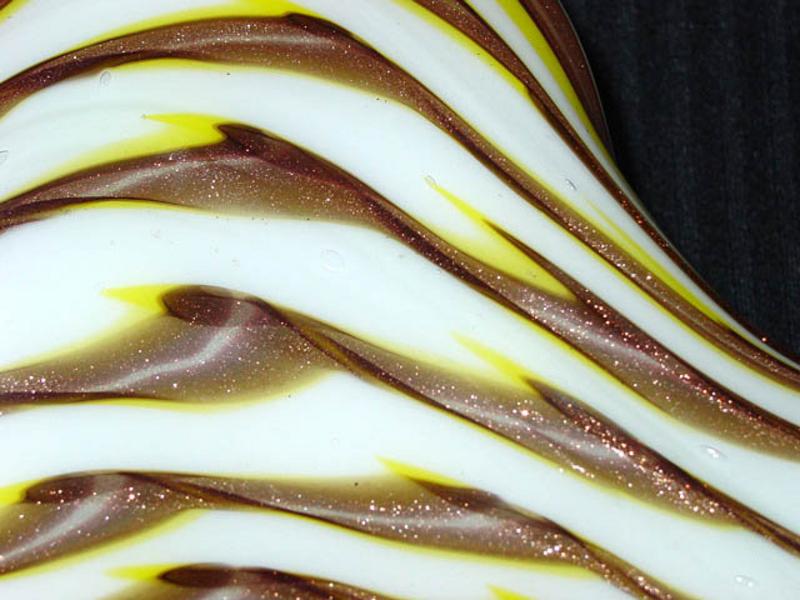 FRATELLI TOSO Murano Yellow AVENTURINE FLECKS Star Bowl