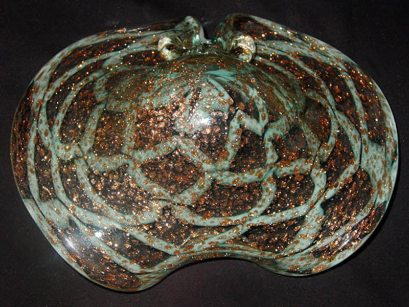 RARE Murano BAROVIER TOSO 50s Blue Web Aventrurine Bowl