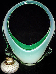 RARE Murano TOSO OPAL Green WINGED Basket Vase
