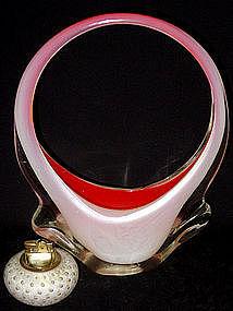 RARE Murano TOSO OPAL ORANGE WINGED Basket Vase