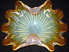 Murano TOSO Opalescent ORANGE Ribbed Fingers Bowl