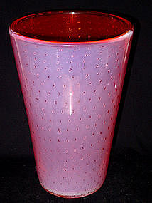 Murano TOSO Opal ORANGE PINK Bubble Beaker Vase