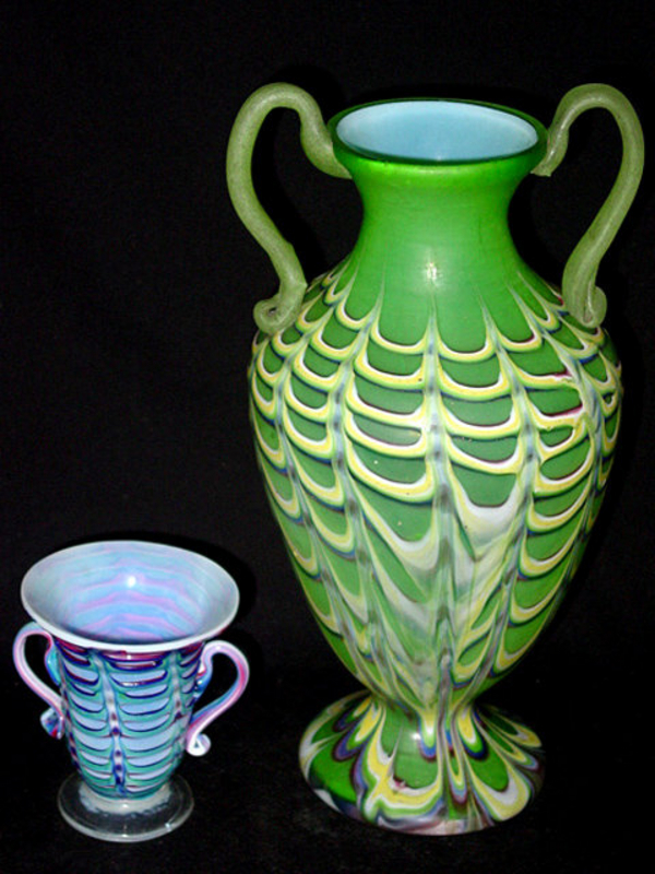 ANTIQUE Venetian OPAL FENICIO Green Yellow Urn Vase