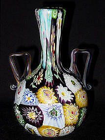 ANTIQUE Venetian TOSO Black MILLIFIORE 2 Handle Vase!