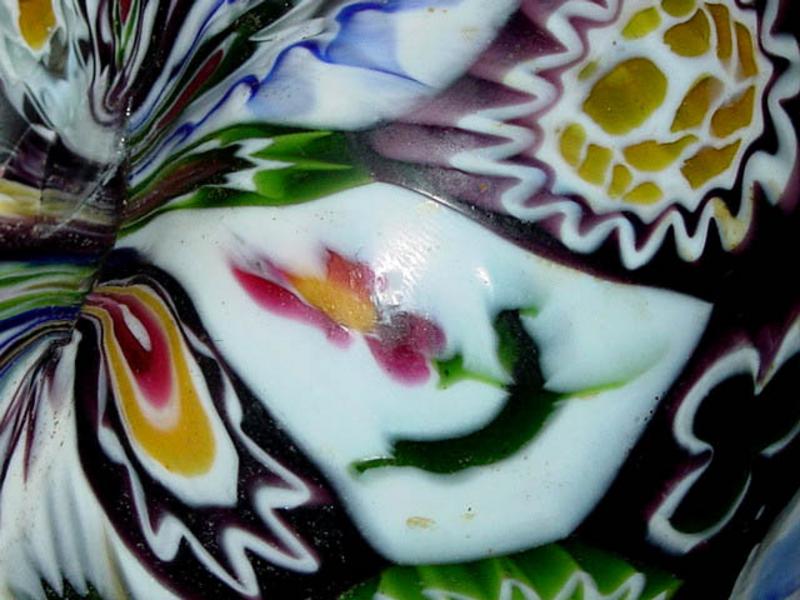 ANTIQUE Venetian TOSO Black MILLIFIORE 2 Handle Vase!