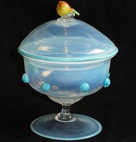 VENETIAN Murano FRATELLI TOSO Opal Pear Candy Jar
