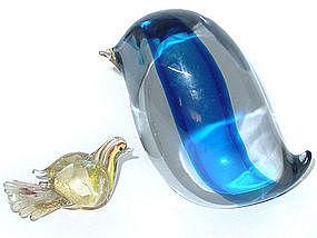 Murano DA ROS CENEDESE Blue Core ABSTRACT MOD Bird