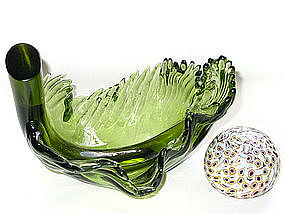 Murano BARBINI 50s Green LEAF Shaped Sculpture