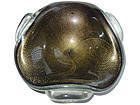 Murano SEGUSO Black Gold Flecks PULEGOSO Triangle Bowl