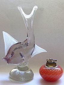 Murano AURELIANO TOSO Light Sommerso Fish Sculpture