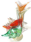 Murano AURELIANO TOSO RED GREEN Gold 2 Fish Sculpture