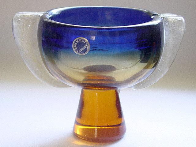 Murano SEGUSO Cobalt Orange SOMMERSO Gold Snails Bowl