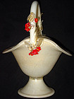 Murano BARBINI Gold Flecks RED FLOWERS Basket Vase