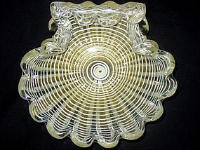 Murano BAROVIER TOSO Gold Flecks ZEBRATI Shell Bowl