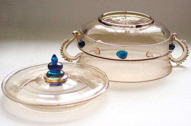 Early VENETIAN Topaz Color w/ Blue Accents Jewelry Box