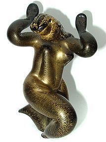RARE Murano MARTINUZZI Black Gold NUDE WOMAN Figurine