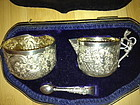 Sterling Repousse creamer and Suger Set Victorian