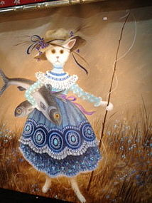 oil painting of a cat in Victorian blue dress with fish