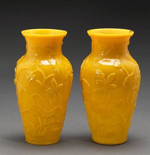 A pair of yellow Peking glass baluster vases