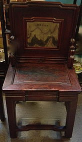 4 Chinese Hardwood Chairs with marble insert