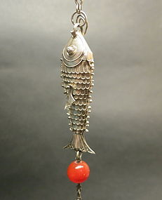 Silver Articulated fish with agate bead