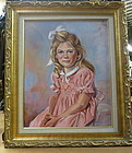 Oil painting of a young girl in pink dress