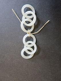 white jade inter locked circle earring