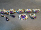 Suite of Chinese gilt enamel amethyst jewelry