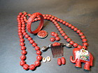 collection of Chinese Cinnabar jewerly