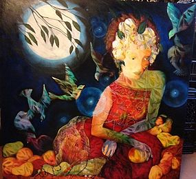 oil painting -  woman in moon light
