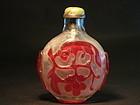 Peking glass overlay snuff bottle jadeite silver stoppe