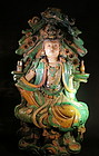 Bodhisattva and Saint double statues Three color glaze
