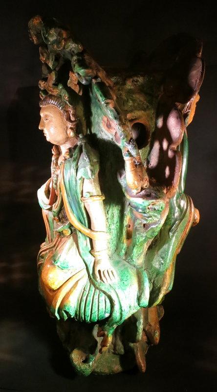 Bodhisattva and Saint double statues Three color glaze