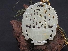 White jade carved flower basket pendant necklace