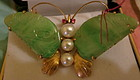 Vintage Chinese Jade butterfly gold brochet