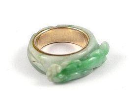 Chinese jade and 14 Karat gold ring