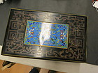 Chinese lacquer box with cloisonné enameled panel