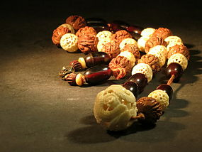 Chinese Buddhist rosary with carved beads