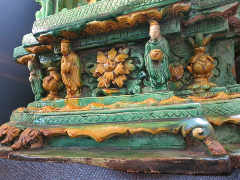 16th Century Sancai Glazed Guangyin in a rocky grotto