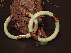Pair of Jadeite bracelet with gold fittings