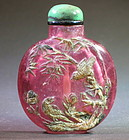 Pink tourmaline / amethyst snuff bottle