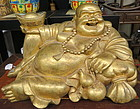 Gilt bronze happy Buddha - Budai