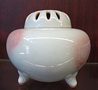 Porcelain Jun ware covered incenser tripot