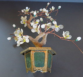 Jade and gemstone flower pot