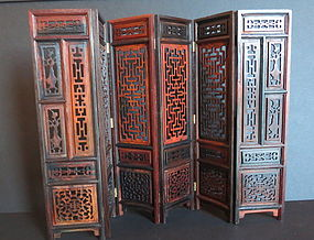 Miniture carved rosewood 6 panel screen