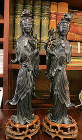 Chinese lapis Lazuli carved maidens